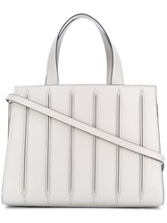 Max Mara Stitch Details Tote Women Calf Leather Polyester Polyurethane Cotton One Size Grey