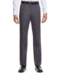 Tasso Elba Brushed Flat Front Dress Pants Charcoal