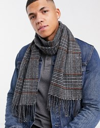 New Look Scarf In Grey Check