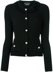 Boutique Moschino Ribbed Cardigan Black
