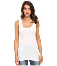 Heather Basic Rib Tank Top White Sleeveless