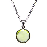 Puck Wanderlust Silver August Birthday Charm Necklace Peridot Silver Yellow Orange