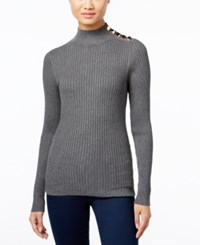Inc International Concepts Embellished Mock Neck Sweater Only At Macy's Medium Heather Grey