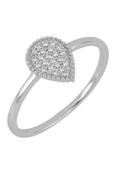 Bony Levy 18K White Gold Pave Diamond Teardrop Ring 0.09 Ctw