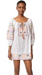 Juliet Dunn Embroidered Cover Up Dress White Neon Multi