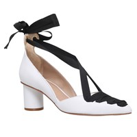 Kurt Geiger Mayfair Tie Up Court Shoes White Leather