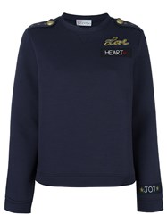 Red Valentino Embroidered Back Sweatshirt Blue