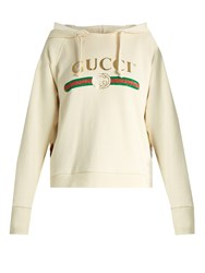 Gucci Logo Print Cotton Jersey Hooded Sweatshirt White
