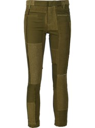Haider Ackermann Patchwork Skinny Trousers Green