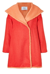 Prabal Gurung Alpaca Wool Oversized Coat In Crimson And Cantaloupe