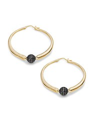 Noir Crystal Studded Ball Hoop Earrings 1.5In Gold Black
