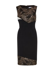 Gina Bacconi Mesh Sequin Cutout Waves Panel Dress Black