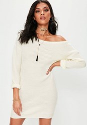 Missguided Cream Off Shoulder Knitted Jumper Dress