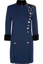 Ronald Van Der Kemp Embellished Cotton Velvet Trimmed Wool Crepe Mini Dress Navy