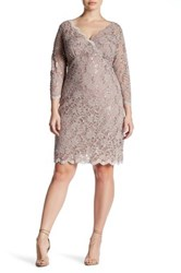 Marina Sequin Lace Dress Plus Size Brown