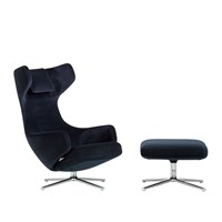 Limited Edition Grand Repos Chair And Ottoman Nobile Fabric Dark Blue