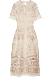 Zimmermann Lace Trimmed Embroidered Silk Organza Midi Dress Off White