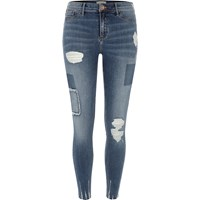 River Island Womens Blue Wash Molly Rip And Repair Jeggings