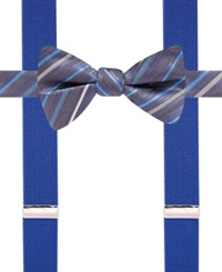 Alfani Spectrum Bexley Stripe Pre Tied Bow Tie And Suspender Only At Macy's Navy