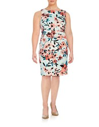 Ivanka Trump Plus Ruched Floral Dress Glass Coral
