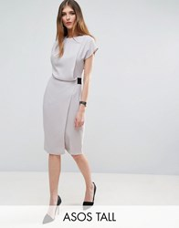 Asos Tall Drape Front Pencil Dress With Elastic Detail Grey