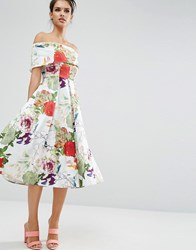 Asos Premium Off The Shoulder Bardot Midi Prom Dress In Summer Garden Floral Multi