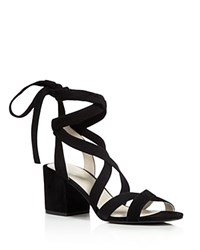 Kenneth Cole Victoria Strappy Lace Up Mid Heel Sandals Black