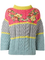 Antonio Marras Floral Embroidered Jumper Pink Purple
