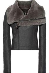 Rick Owens Woman Classic Cropped Shearling Biker Jacket Anthracite