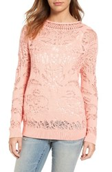 Hinge Women's Drop Stitch Cotton Blend Sweater Coral Almond