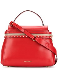 Twin Set Stud Detail Tote Red