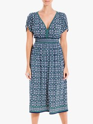 Max Studio Short Sleeve V Neck Printed Jersey Dress Navy Amazon