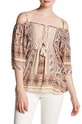 Angie Cold Shoulder Embroidered Blouse White