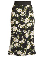 Dolce And Gabbana Floral Print High Rise Cady Skirt Black White