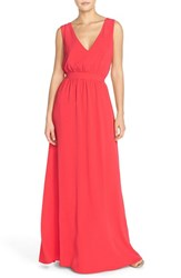 Women's Paper Crown By Lauren Conrad 'Sonoma' Tassel Back V Neck A Line Gown Coral