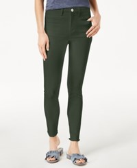 Maison Jules Frayed Skinny Jeans Created For Macy's Deeper Olive