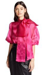 Costarellos Oversized Bow Puff Half Sleeve Blouse Fuschia