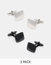 Asos Cufflinks 2 Pack Save 20 Blacksilver