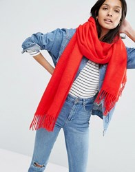 Asos Supersoft Long Woven Scarf With Tassels Red
