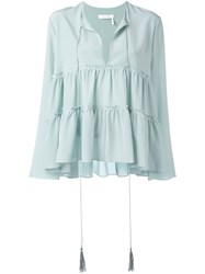 Chloe Tiered Blouse Blue