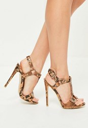Missguided Nude Snake Print Harness Trim Gladiator Heels Rust