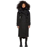 Sacai Black Coated Cotton Trench Coat