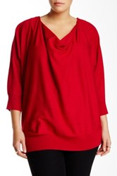 Chelsea And Theodore Zip Shoulder Cowl Sweater Plus Size Red