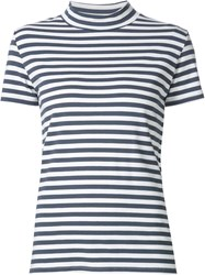 Just Female Mock Neck Striped T Shirt Blue