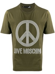 Love Moschino Peace And T Shirt Green