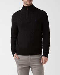 Polo Ralph Lauren Black Zip Collar Cotton Cable Knit Sweater