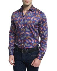 Etro Multi Paisley Print Long Sleeve Sport Shirt Blue Multi