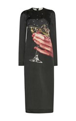 Isa Arfen Cheers Champagne Satin Dress Black