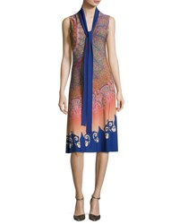 Etro Marrakech Paisley Silk Sleeveless Dress With Scarf Multicolor