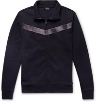 A.P.C. Jessy Slim Fit Velvet Trimmed Cotton Jersey Track Jacket Navy